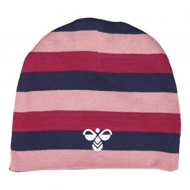 8866342611a Hummel BOBO beanie - Vendbar hue i multistrib, rosa, pink og navy ...