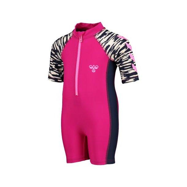 Hummel - Sonny - UV50+ Badeanzug in Pink mit Navy / Weiß