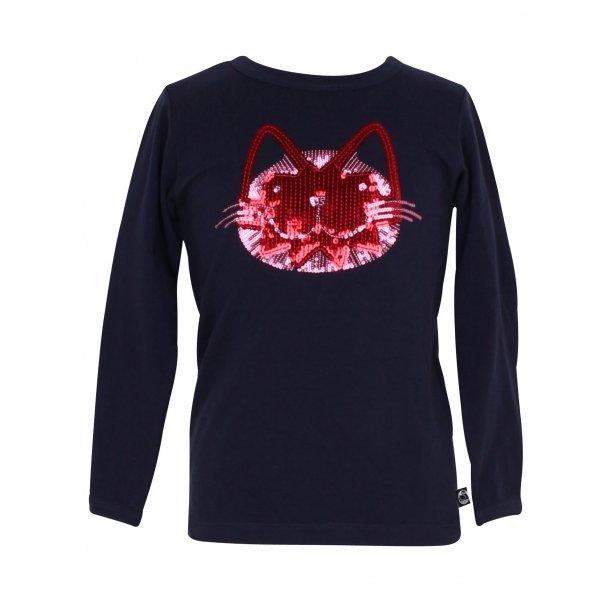 Navy Shirt mit einer süßen Katze im roten Glitter