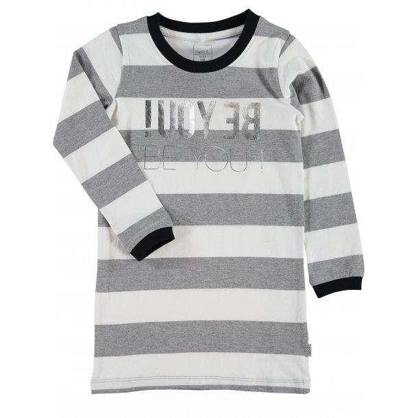 Cool grau-weiß gestreiften Tunika / T-Shirt Kleid  - NITLASTRIPE K LS TUNIC 515 - von Name it
