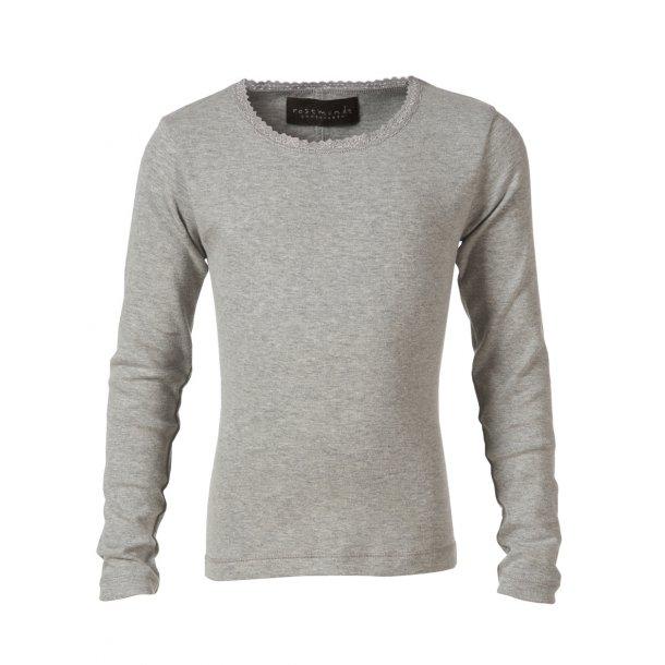 Rosemunde Seide-Baumwolle T-Shirt in hell grau mit Spitzen
