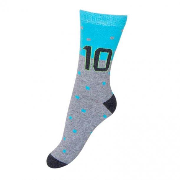 Melton Socken in grau und Turkis mit Nummer 10